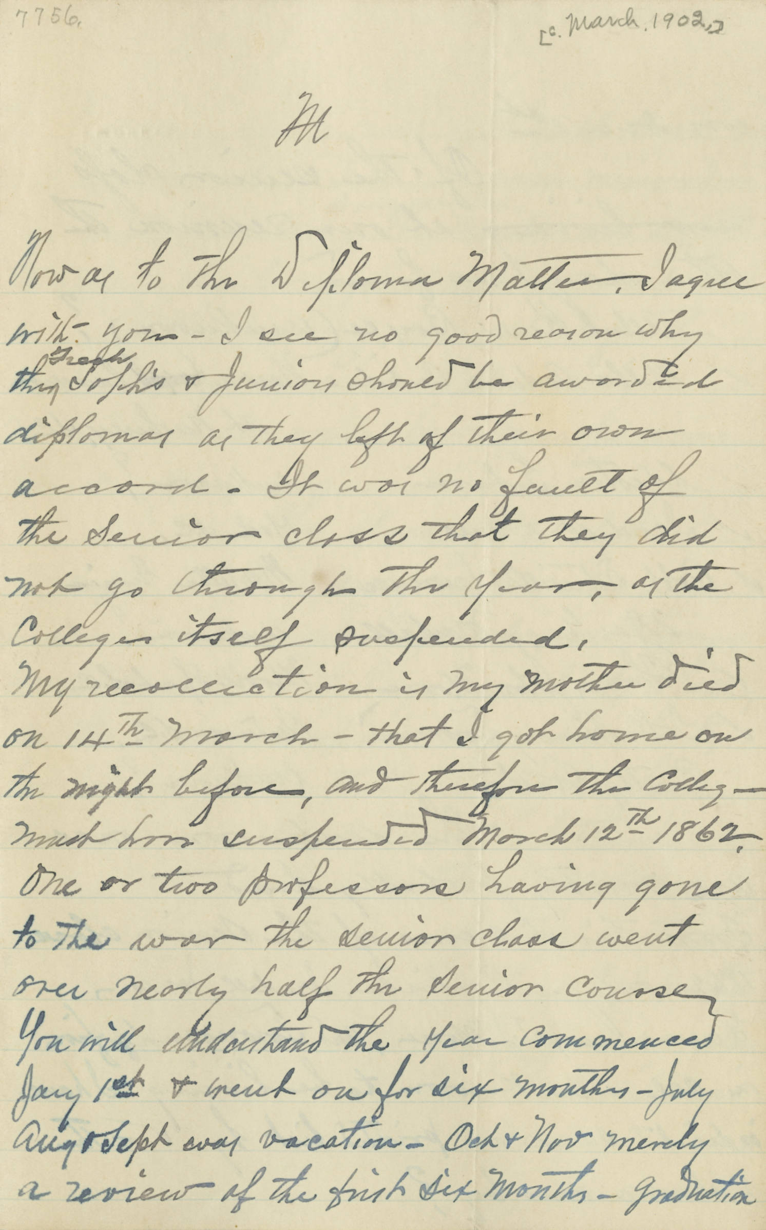 Letter, 1902 March, Thomas J. Moore (Spartanburg, SC) to his son A. C. Moore (Columbia, SC), Page 1
